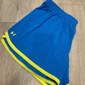 Under armor blue and neon shorts size large